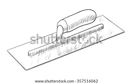 Plastering trowel illustration - stock vector