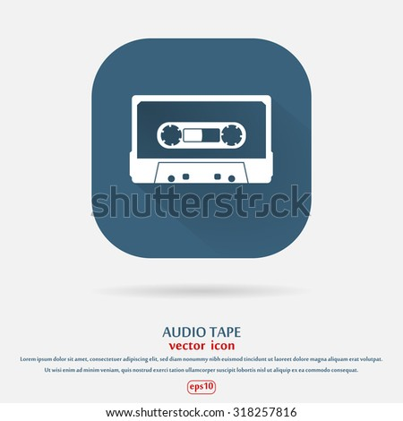 Plastic audio compact cassette tape - web icon. white color music tape. old technology concept, retro style, flat and shadow theme design, vector art image illustration, isolated on blue background - stock vector