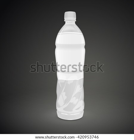plastic beverage bottle with blank label isolated on black background. 3D illustration. - stock vector