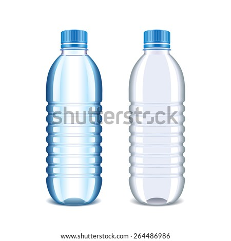 Plastic bottle for water isolated on white photo-realistic vector illustration - stock vector