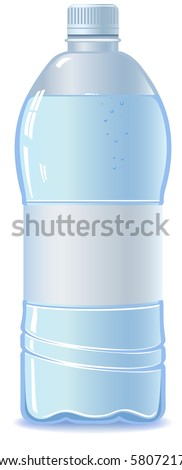 Plastic bottle of water. Isolated on white. Empty label. Vector - stock vector