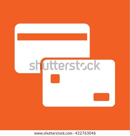 plastic card banking cash credit white icon on orange background - stock vector