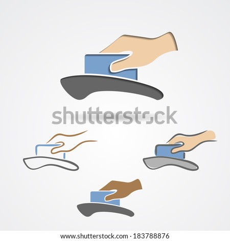 Plastic card in hand inserting in credit card machine. Vector illustration - stock vector