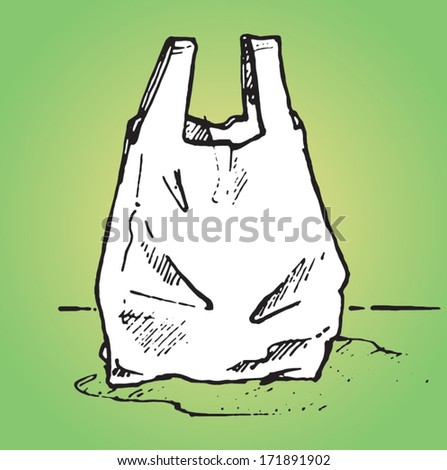 Plastic carrier bag - vector sketch illustration - stock vector