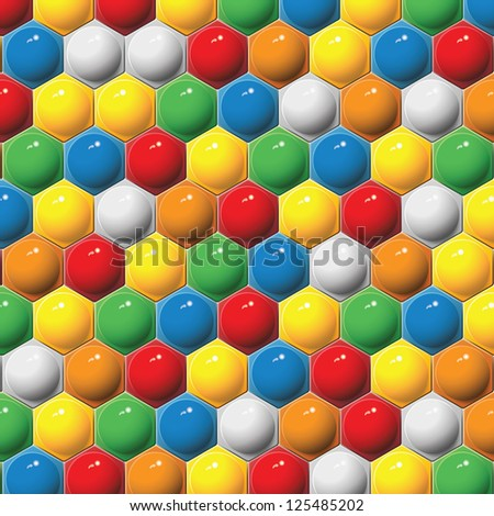 Plastic children's hexagon mosaic. Vector background. - stock vector