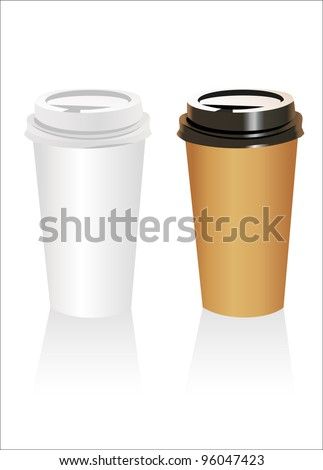 Plastic coffee cup templates over white background - stock vector