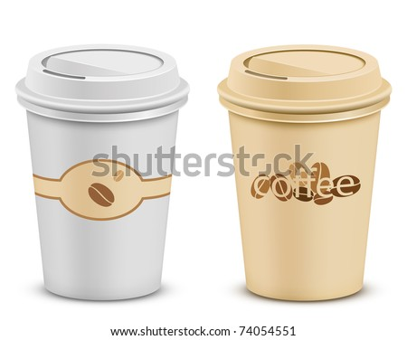 Plastic coffee cups with lid - stock vector