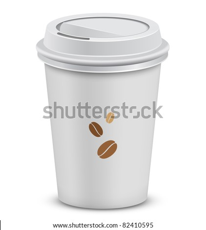 Plastic coffee cups with lid and coffee beans. Vector illustration - stock vector