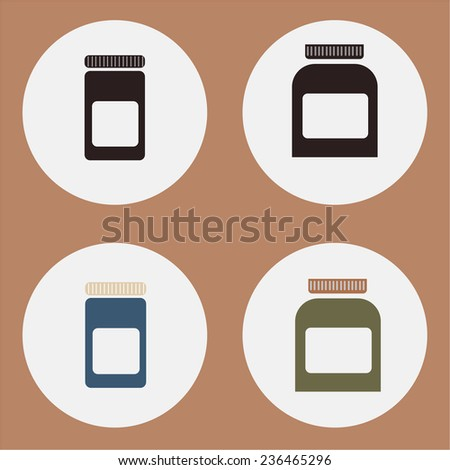 Plastic containers set. With retro colors. Blank for you text. - stock vector