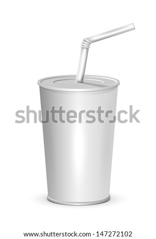 Plastic cup isolated on white background, illustration. - stock vector
