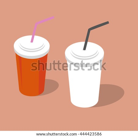 Plastic cups for cold and hot drinks. Vector illustration.
