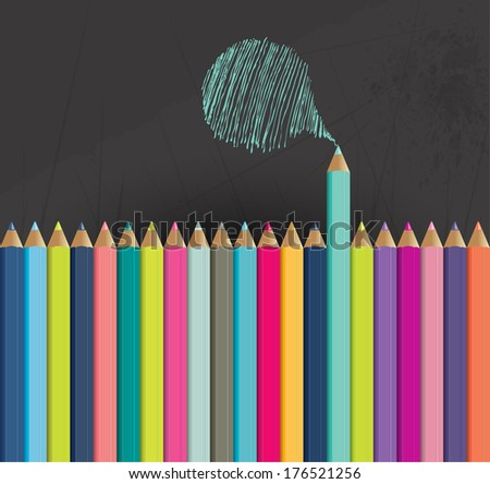 Plastic 3D color crayon background. - stock vector