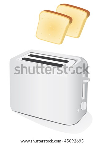 Plastic electric toaster with toast. Vector illustration