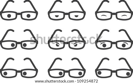 Plastic framed glasses with various eyed expressions - stock vector
