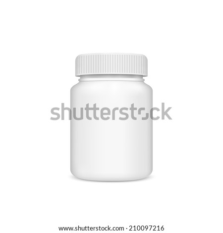 Plastic jar with the lid on a white background. Vector - stock vector