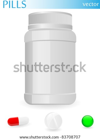 Plastic medical container and pills. Vector.