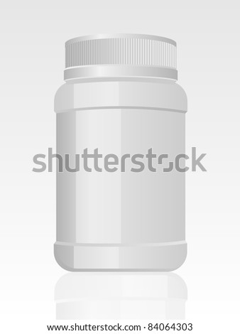 Plastic medical container. Vector.