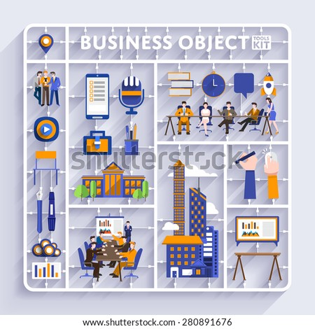 Plastic model kit for concept business and workplace city.Flat design vector illustrate. - stock vector