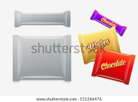 Plastic Package. Chocolate, wafers, sweets or candy pack. 