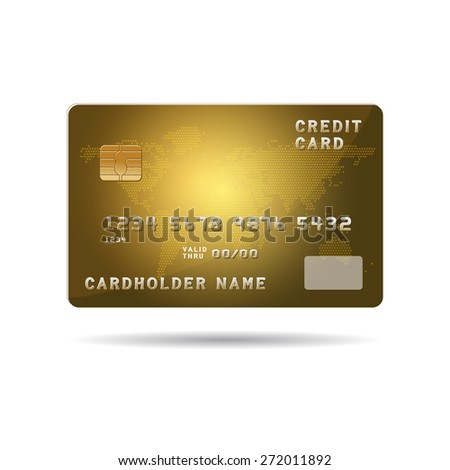 Plastic payment card with chip and global map background illustration. Vector Illustration isolated on white.