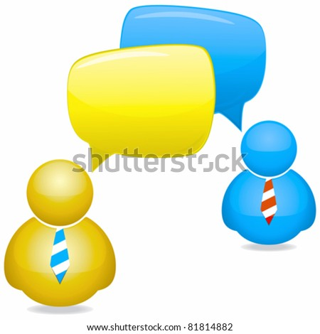 Plastic People Icons with Speech Bubbles and Ties - stock vector