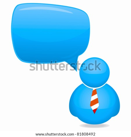 Plastic Person Icon with Speech Bubble and Tie - stock vector