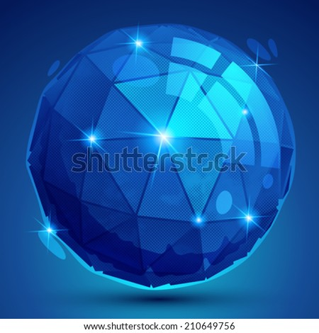 Plastic pixilated dimensional complicated spherical object, synthetic dotted geometric element. - stock vector