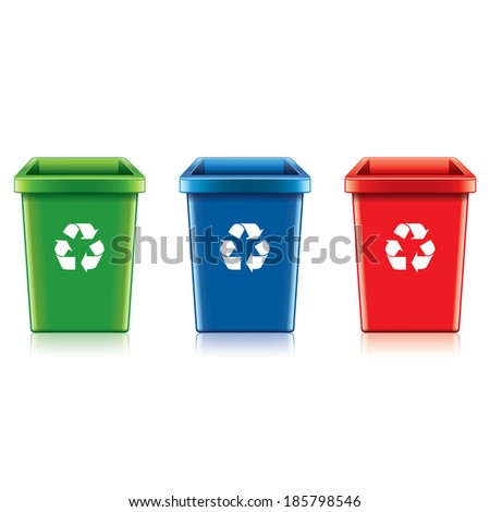 Plastic recycle bin set isolated on white photo-realistic vector illustration