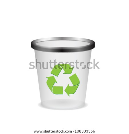 Plastic recycle trash can - stock vector
