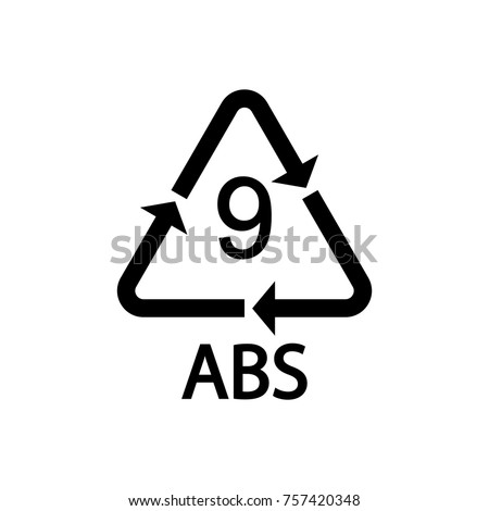 Plastic Recycling Symbol Abs 9 Vector Stock Vector 757420348