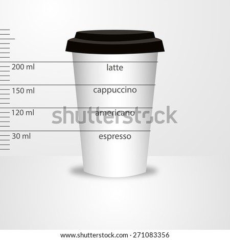 Plastic takeaway coffee cups. Vector illustration of coffee menu  - stock vector