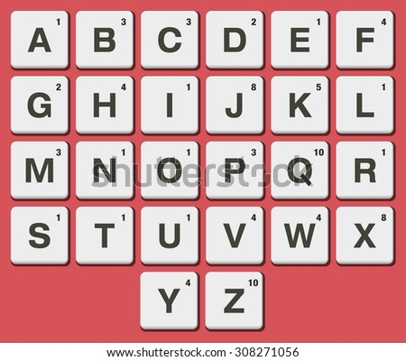 Plastic tile alphabet for puzzling words games - stock vector