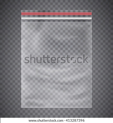 Plastic transparent bag with a closing strip. - stock vector