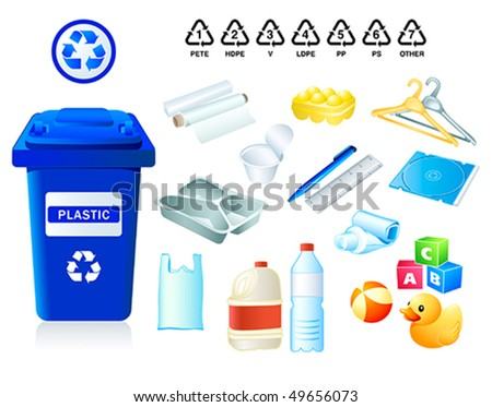 Plastic waste suitable for recycling and plastic codes - stock vector