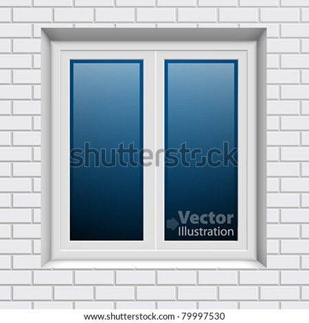 Plastic window in white brick wall from outside. Vector illustration.