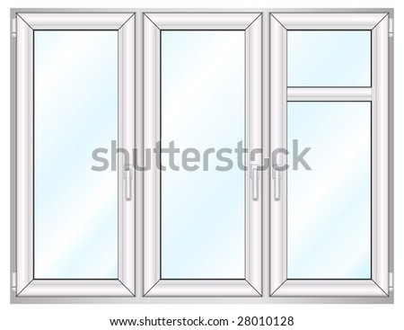 Plastic window template model with clipping path included, vector illustration