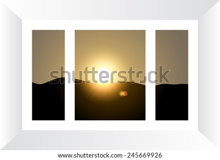 Plastic window with view to sunset landscape. Vector illustration