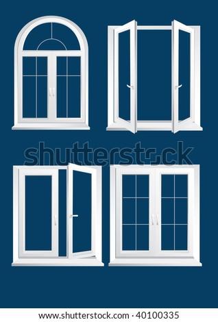 plastics glasses windows on the dark blue background - vector - stock vector