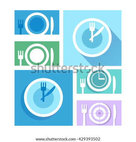 Plate dish with forks and knifes icons.  Crosswise cutlery symbol. Dining etiquette. Circle concept web buttons. Vector.Time to eat. - stock vector