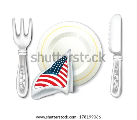 Plate Fork Knife with USA Flag - stock vector