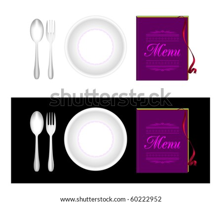 Plate, fork, spoon, menu - stock vector