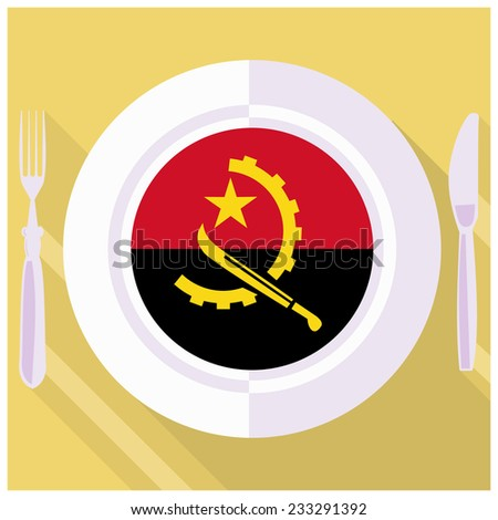 plate in flat style with flag of Angola - stock vector
