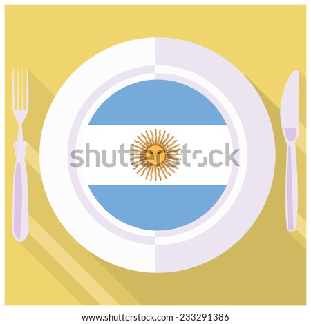 plate in flat style with flag of Argentine - stock vector