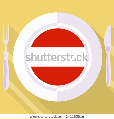 plate in flat style with flag of Austria - stock vector