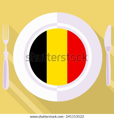 plate in flat style with flag of Belgium - stock vector