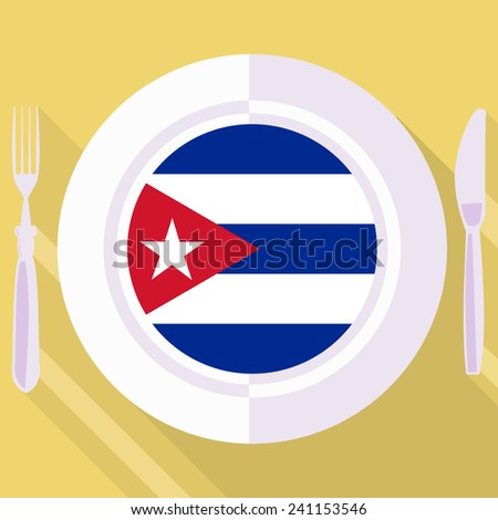 plate in flat style with flag of Cuba - stock vector