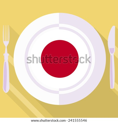 plate in flat style with flag of Japan - stock vector