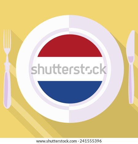 plate in flat style with flag of Netherlands - stock vector