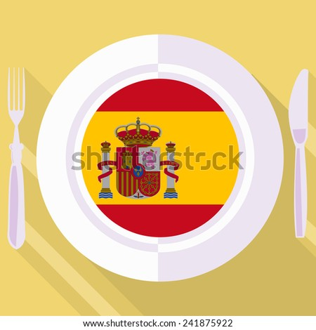 plate in flat style with flag of Spain - stock vector