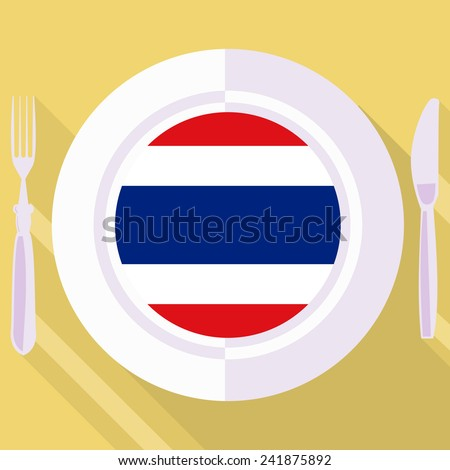plate in flat style with flag of Thailand - stock vector